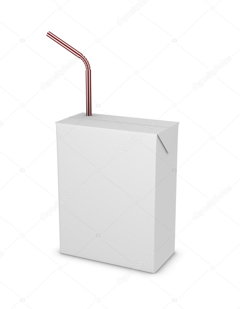 One 3d render of a small tetrapak package with a straw — Stock Photo #5012229