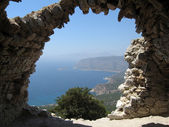 View Through The Wall of Monolithos Castle. — Stock Photo