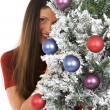 Woman with Holiday Tree — Stock Photo