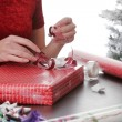 Stock Photo: Wrapping Holiday Presents