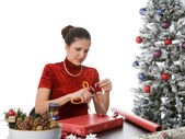 Wrapping Holiday Presents — Stock Photo