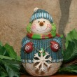 Snowman on mantle — Stock Photo