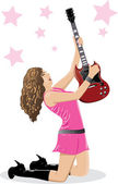 Hermosa morena con guitarra — Vector de stock