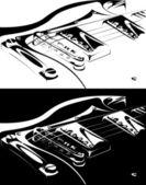 Electric guitar black-white version — Stock Vector