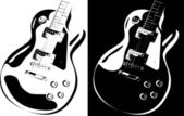 Electric guitar black-white version — Stock Vector