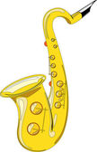 Gold saxophone isolated on white background — Stock Vector