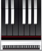 Set di tasti di pianoforte nell'illustrazione, bianco e nero — Vettoriale Stock