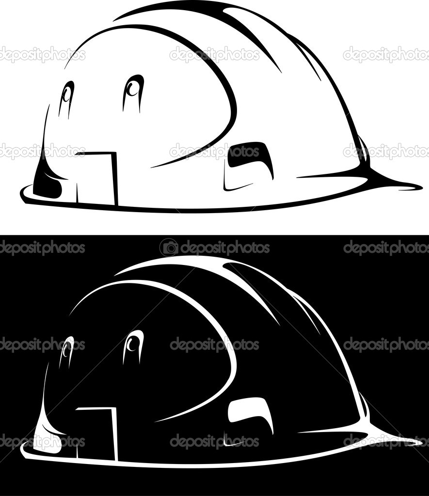 Vector. construction workers hard hat on white and black background — Stock Vector #3976755