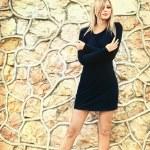Woman in black dress — Stock Photo