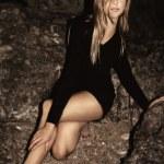 Blond woman night portrait — Stock Photo