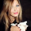 Woman and cat — Stock Photo #3991695