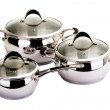 Series of images of kitchen ware. Pan set - Stock Photo