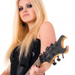 Beautiful blonde with guitar — Stock Photo #3996289