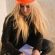 Young girl in a helmet before building - Foto de Stock