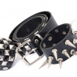 Black Leather Belt with Chrome Studs — Stock Photo