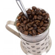 Glass cup with coffee and beans isolated on white — Stock Photo