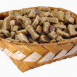 Stock Photo: Rusks in big birch-bark box