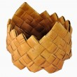 Small empty braided birch-bark box — Stock Photo