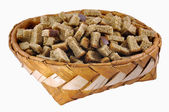 Rusks in big birch-bark box — Stock Photo