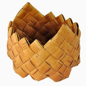 Small empty braided birch-bark box — Stok fotoğraf