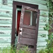 Stock Photo: Old Door Falling of Hinges of Historic AlaskCabin