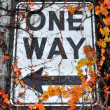 One Way Sign on Alaskan Way Viaduct - Stock Photo