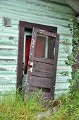 Old Door Falling of Hinges of Historic Alaska Cabin — Stock Photo