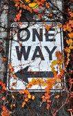 One Way Sign on Alaskan Way Viaduct — Stock Photo