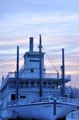 Historic Alaska Riverboat at Dusk in Winter — Stock Photo