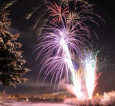 Arctic Solstice Fireworks — Stock Photo