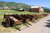 Display of Mormon Settler Hand Carts at Heritage Park in Utah — ストック写真