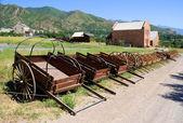 Display of Mormon Settler Hand Carts at Heritage Park in Utah — Stock Photo