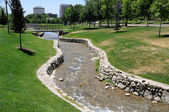 Artificial Stream Flows through Urban Park — Stock Photo