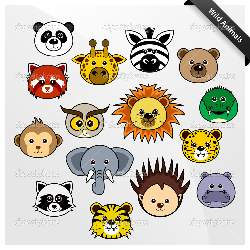 A set of cute wildlife animal faces cartoon. — Stock Vector #3948921