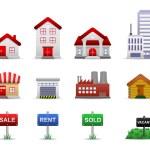 nieruchomości nieruchomości ikony wektor — Wektor stockowy