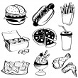 Royalty-Free Stock Obraz wektorowy: Fast Food Set Burger Hot Dog Sausage Fries Nugget Pizza Soft Drink Potato C