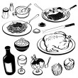 Dinner Meal Food Set Spaghetti Soup Chicken Rice Wine Steak - Stock Vector