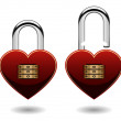Love Shaped Combination Pad Lock in Vector — Stock Vector