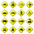 Road Sign Glossy Vector (Set 4 of 8) — Stock Vector