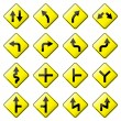 Road Sign Glossy Vector (Set 1 of 8) — Stock vektor