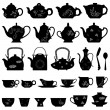 Tea Teapot Cup Chinese Japanese Asian Oriental — Imagen vectorial