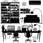 Home Office Library SOHO Vector — Stock Vector
