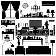 Living Room Furniture Home Interior Design - Stock Vector