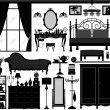 Bedroom Home Interior Design Set Black - Stock Vector