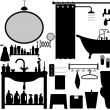 Bathroom Toilet Design Set Vector — 图库矢量图片