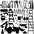 Construction Tool Silhouette Vector — Vettoriale Stock #4559762