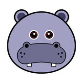 Cute Hippo Face — Stock Vector