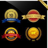 Warranty Guarantee Seal Ribbon Award — Stock Vector