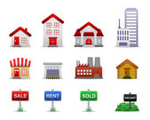 Real Estates Property Icons Vector — Vetor de Stock