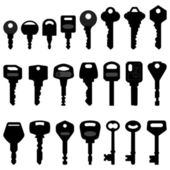 Key Black Silhouette Vector — Vector de stock